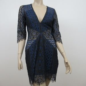 For Love And Lemons  LylA Dress Black Blue Lace Ov